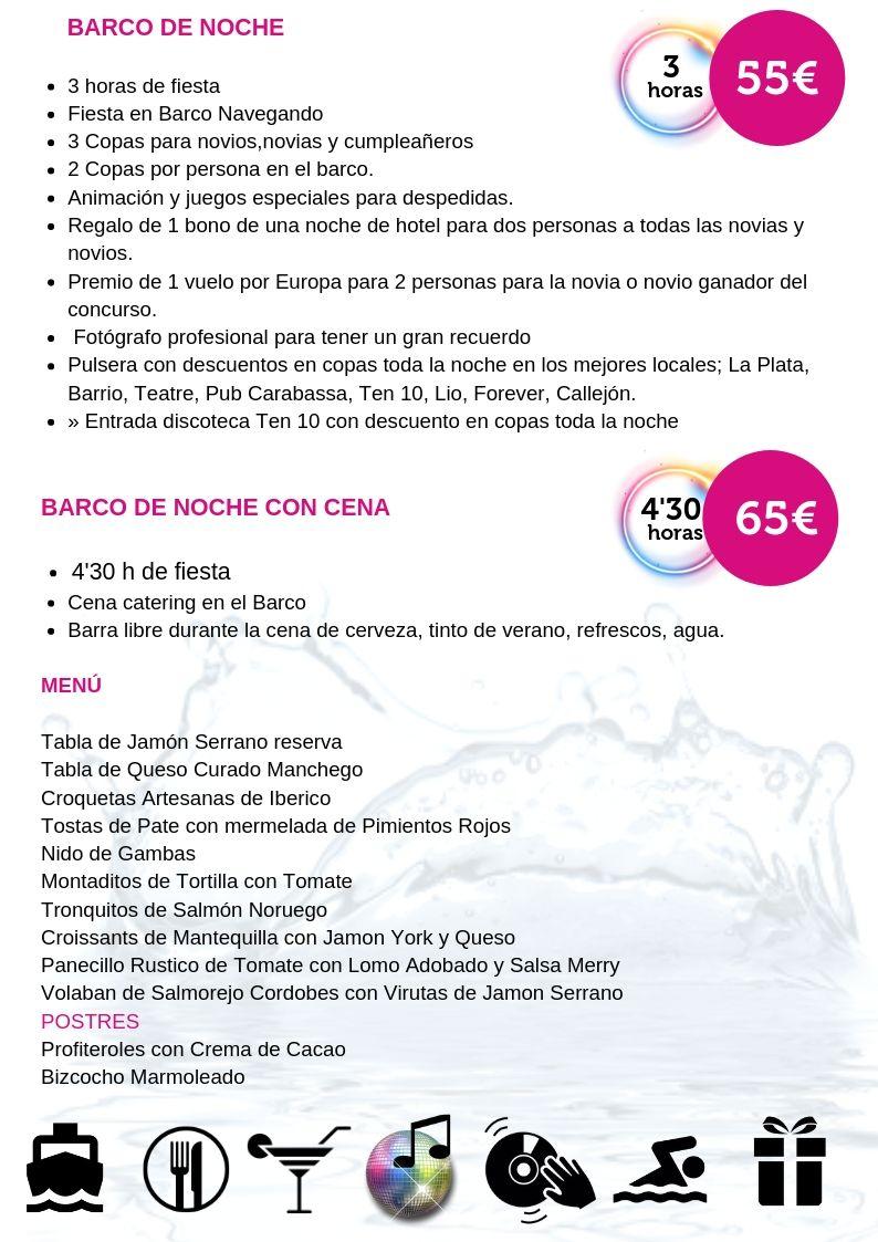 Fiesta en barco de noche Alicante - Martin Espectaculos