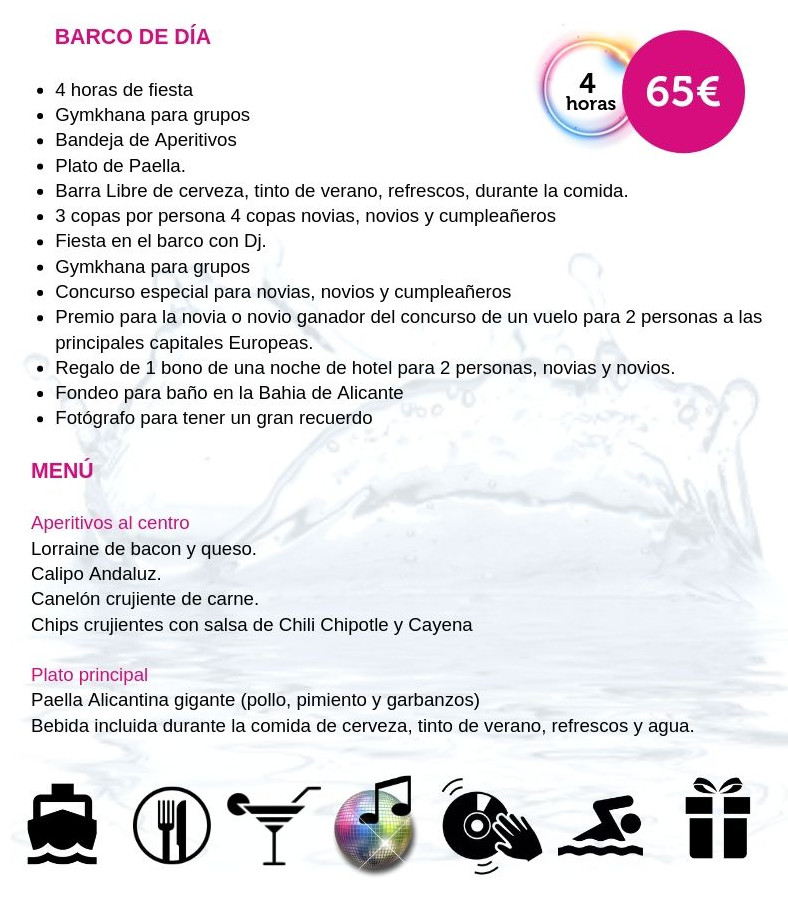 Fiesta en barco de dia Alicante - Martin Espectaculos