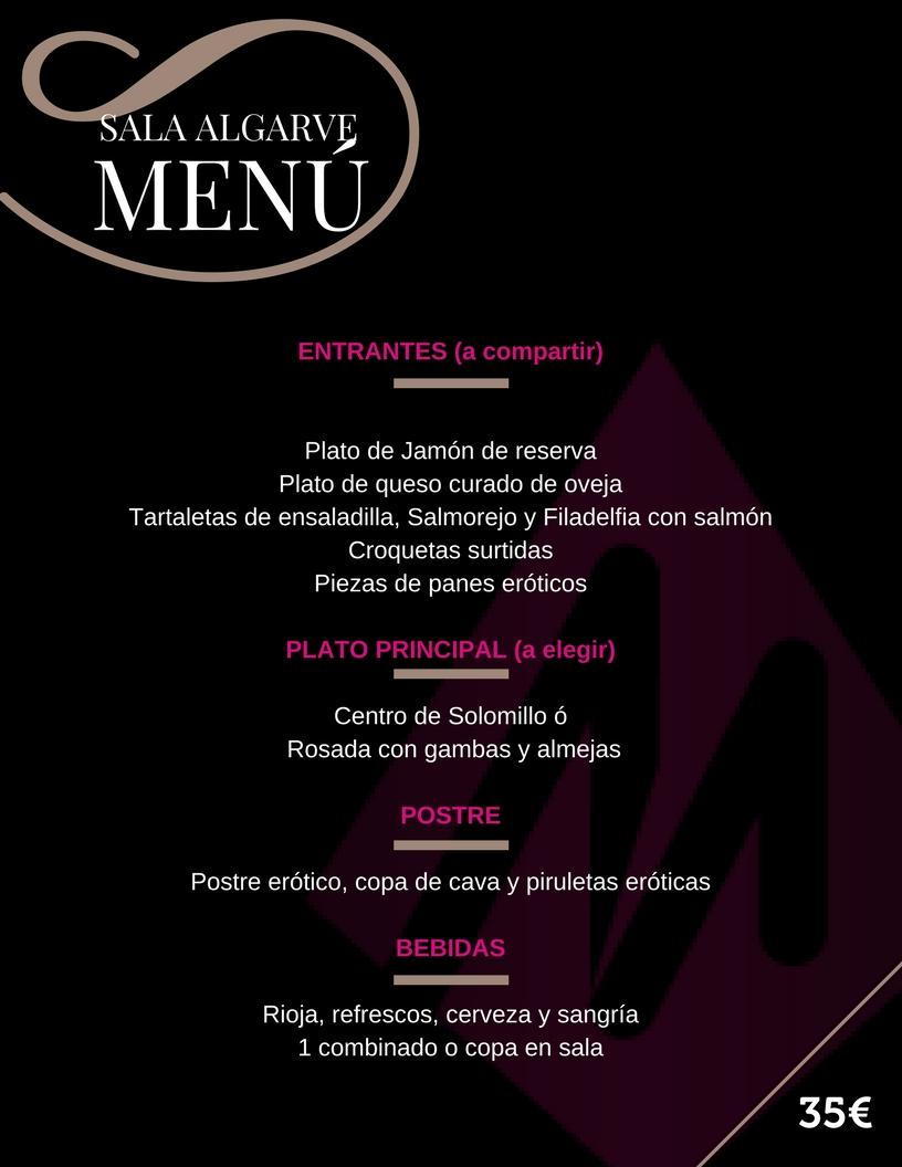 Menú Sala Algarve Despedidas de soltero - despedidas de soltera - restaurante tematico - Martin Espectaculos