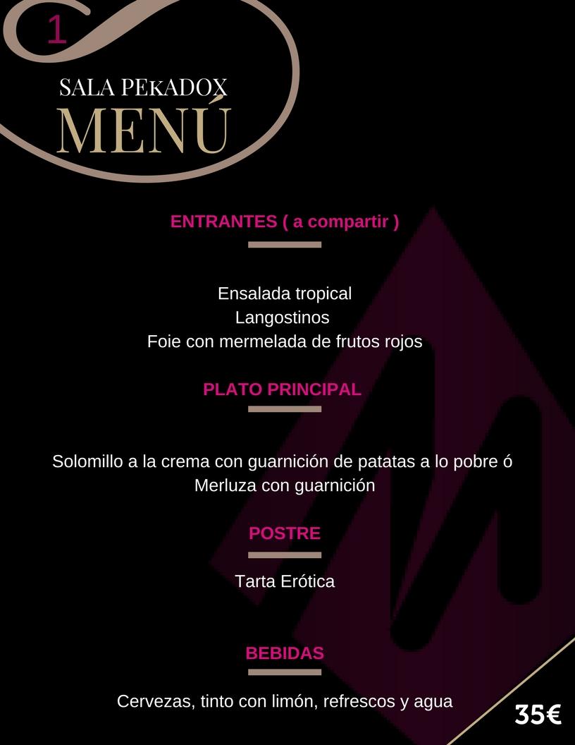 Sala Pekadox menu 1