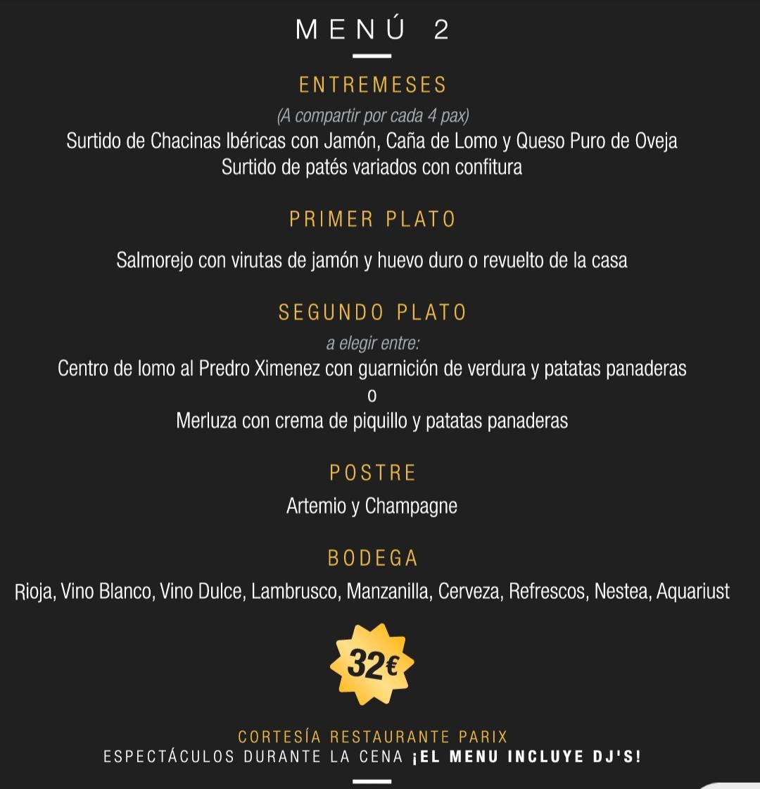 menu 2 sala parix