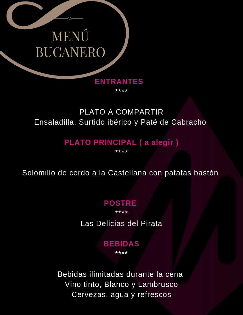 menus la taberna pirata chiclana - Martin Espectaculos