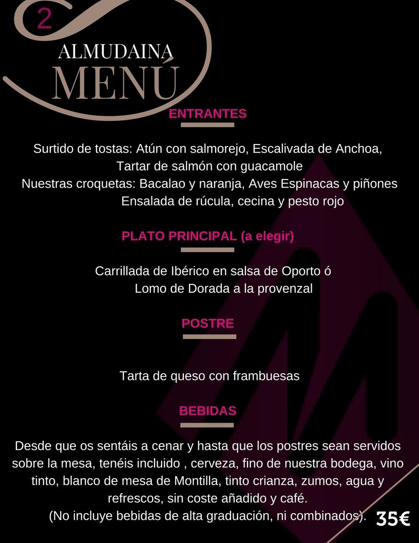 Menu 2 Restaurante Almudaina para grupos